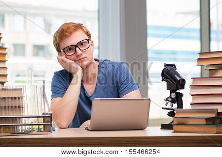 Young student preparing for school exams