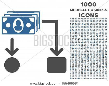 Cashflow vector bicolor icon with 1000 medical business icons. Set style is flat pictograms, cobalt and gray colors, white background.