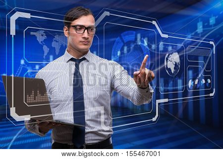Young businessman in data mining concept