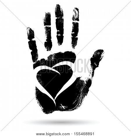 Concept conceptual cute paint human hand or handprint of child with heart shape isolated on white background