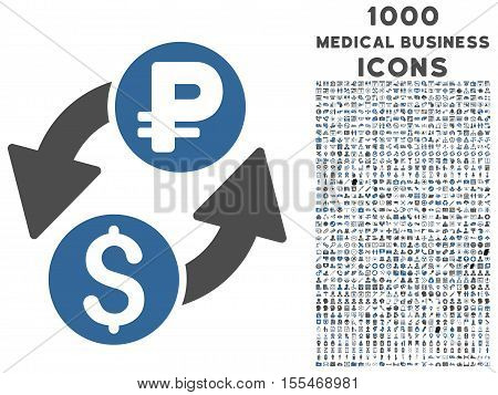 Dollar Rouble Exchange vector bicolor icon with 1000 medical business icons. Set style is flat pictograms, cobalt and gray colors, white background.