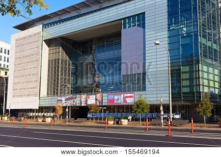 WASHINGTON DC USA - NOVEMBER 7 2016: Newseum building on Pennsylvania Avenue before the election day on November 7 2016 in Washington DC. Museum promotes the five freedoms of the First Amendment.