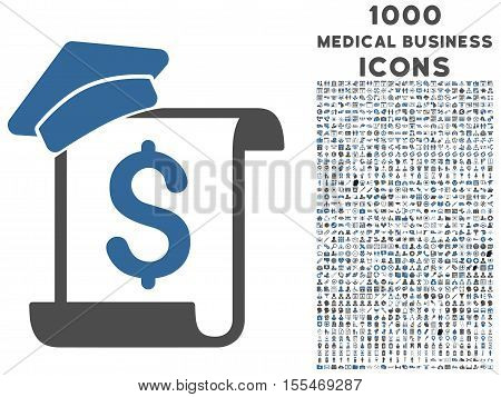 Education Invoice vector bicolor icon with 1000 medical business icons. Set style is flat pictograms, cobalt and gray colors, white background.