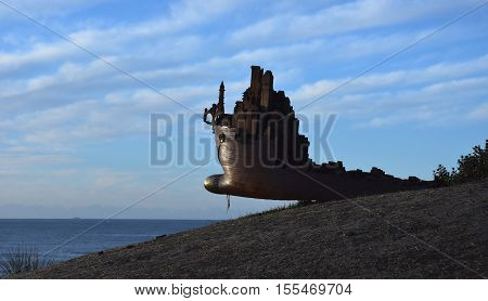 Sydney Australia - Nov 6 2016. Oliver Stretto-Pow: Infrastructure 5. Sculpture by the Sea along the Bondi to Coogee coastal walk is the world's largest free to the public sculpture exhibitions.