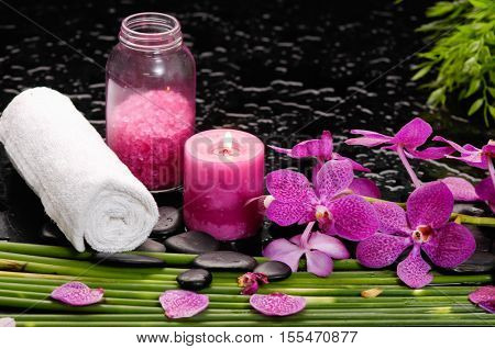 tranquil spa scene- orchid with black stones with candle ,oil green plant,salt in bottle