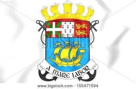 Saint Pierre And Miquelon Coat Of Arms, France. 3D Illustration.