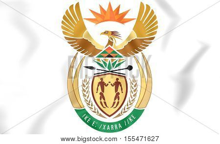South Africa Coat Of Arms. 3D Illustration.