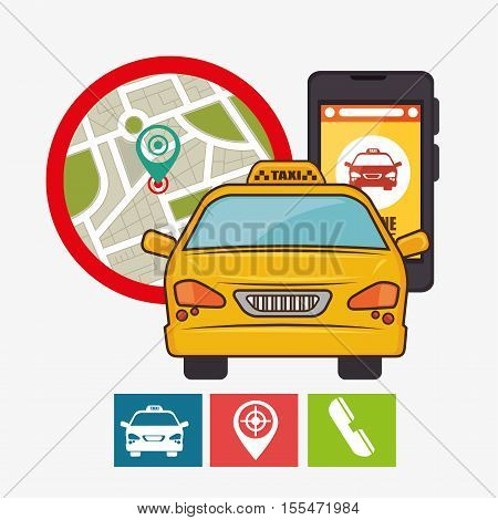 taxi service concept gps mobile phone icon vector illustration eps 10