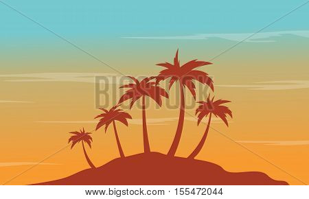 At afternoon seaside palm scenery silhouettes vector illustration