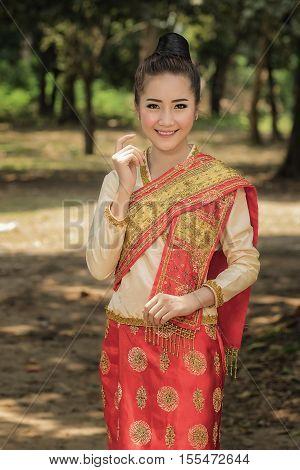 Beautiful girl in Laos costume.Lao traditional dress of a beautiful woman.