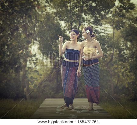 Beautiful woman lao in active dress,Beautiful Laos girl.