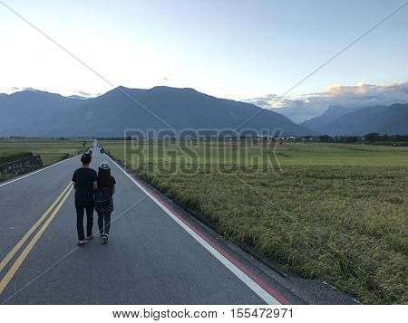 CHIHSHANG - OCTOBER 31: Tourists walk along a tarmac road between scenic rice paddy fields on October 31, 2016 in Chihshang, Taiwan.