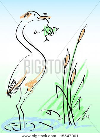 heron and frog. vector cartoon