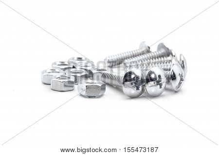 Nuts And Bolts On White Background