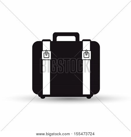 suitcase with straps black design vector illustration eps 10