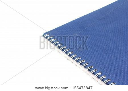 Stack Of Ring Binder Book Or Blue Notebook Isolated On White Background
