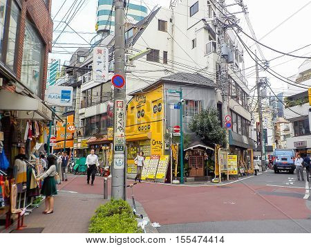 Tokyo Japan - October 28 2014 :Shimokitazawa district.Shimokitazawa district is famous for independent fashion shops cafes decorations and theaters.