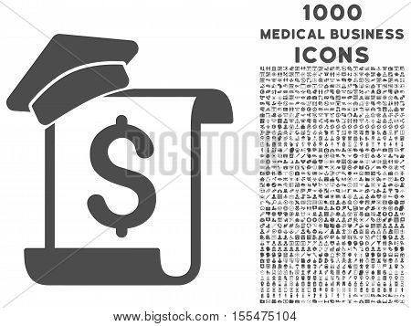 Education Invoice vector icon with 1000 medical business icons. Set style is flat pictograms, gray color, white background.