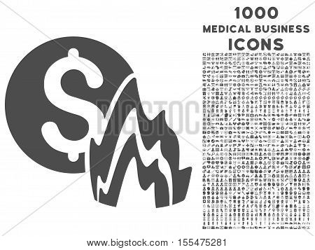 Fire Disaster Price vector icon with 1000 medical business icons. Set style is flat pictograms, gray color, white background.
