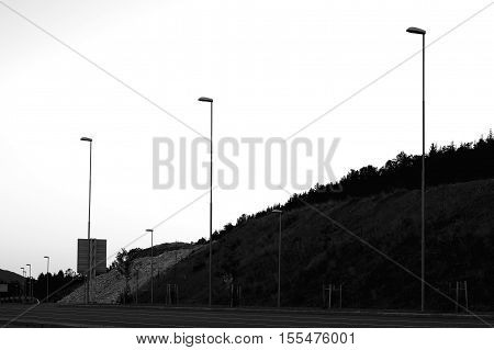 Black and white lampposts in Norway background hd