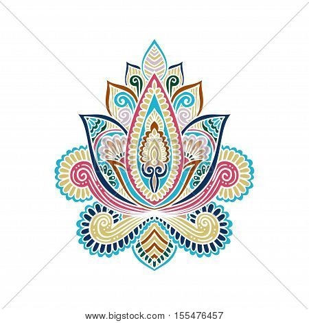 Vector Indian Hand Drawn Hamsa With Ethnic Ornaments. Beautiful India Ethnica Ornament. Folk Henna T