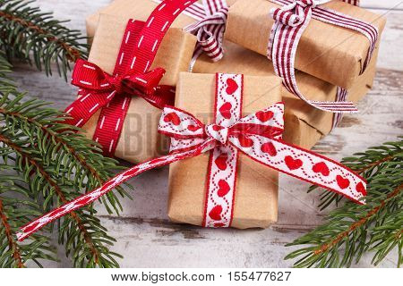 Wrapped Gifts And Spruce Branches For Christmas Or Valentines