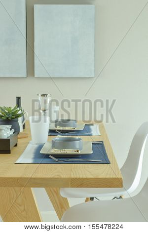 Ceramic Ware Dining Set On Wooden Dining Table