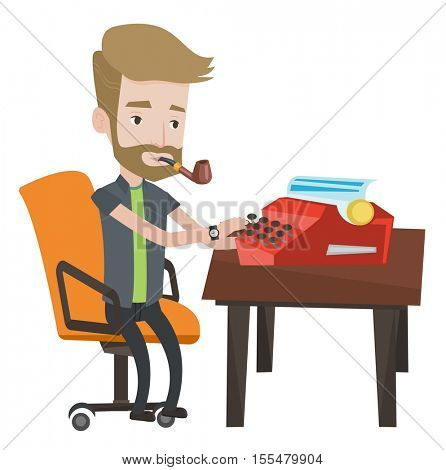 Journalist writing an article on a vintage typewriter. Journalist working on retro typewriter. Young hipster journalist smoking pipe. Vector flat design illustration isolated on white background. .