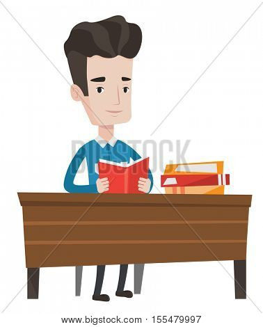 Student sitting at the table and holding a book in hands. Student reading a book. Cheerful student reading a book and preparing for exam. Vector flat design illustration isolated on white background.