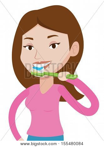 Young caucasian woman brushing her teeth. Smiling woman cleaning teeth. Woman taking care of her teeth. Woman with toothbrush in hand. Vector flat design illustration isolated on white background.