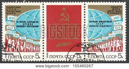 MOSCOW RUSSIA - CIRCA OCTOBER 2016: a post stamp printed in the USSR dedicated to the Soviet Peace Policy circa 1984