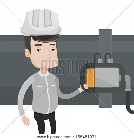 Worker of oil refinery plant checking detector on pipeline. Worker standing on the background of pipeline. Technician maintaining pipeline. Vector flat design illustration isolated on white background