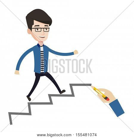 Man running up the career ladder drawn by hand with pencil. Happy businessman climbing the career ladder. Concept of business career. Vector flat design illustration isolated on white background.