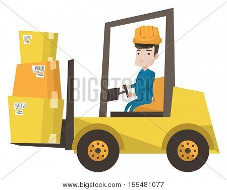 Caucasian warehouse worker loading cardboard boxes. Forklift driver at work in storehouse. Warehouse worker driving forklift at warehouse. Vector flat design illustration isolated on white background.