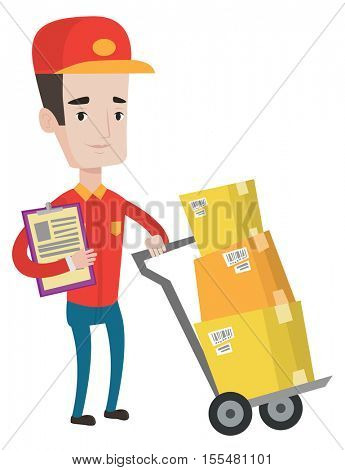 Young delivery man pushing cardboard boxes on trolley. Caucasian delivery man with clipboard. Friendly worker of delivery service. Vector flat design illustration isolated on white background.
