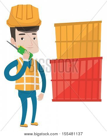 Port worker in hard hat talking on wireless radio. Port worker standing on cargo containers background. Port worker using wireless radio. Vector flat design illustration isolated on white background.