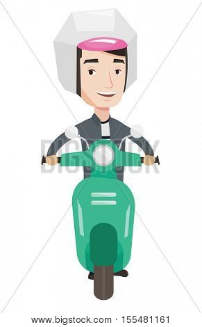 Young caucasian man riding a scooter. Young man in helmet driving a scooter. Smiling man driving a scooter. Man traveling on a scooter. Vector flat design illustration isolated on white background.