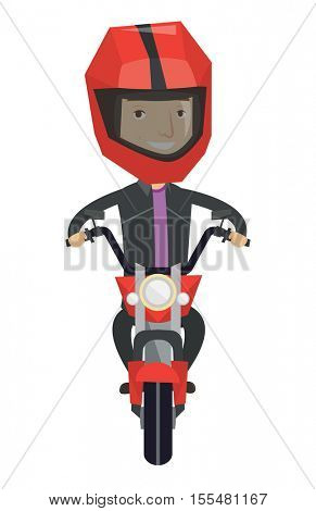 Young man in helmet riding a motorcycle. Caucasian man driving a motorbike. Happy man riding a motorcycle. Vector flat design illustration isolated on white background.