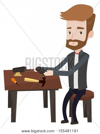 Shoemaker working with a shoe in workshop. Hipster shoemaker repairing a shoe in workshop. Shoemaker making handmade shoes in workshop. Vector flat design illustration isolated on white background.