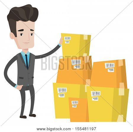 Caucasian businessman working in warehouse. Businessman checking boxes in warehouse. Businessman in warehouse preparing goods for dispatch. Vector flat design illustration isolated on white background