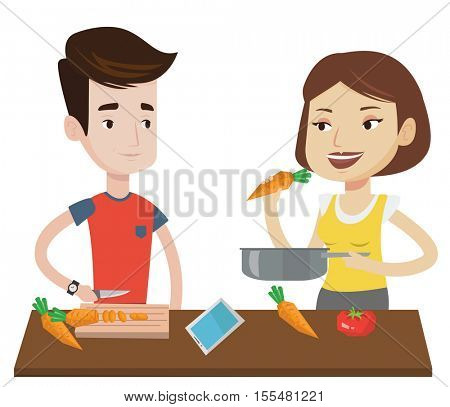 Couple cooking together fresh healthy vegetables. Young couple preparing vegetable meal. Caucasian couple cooking healthy vegetable meal. Vector flat design illustration isolated on white background.