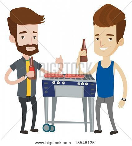Friends preparing barbecue and drinking beer. Group of friends having fun at a barbecue party. Caucasian male friends at barbecue party. Vector flat design illustration isolated on white background.