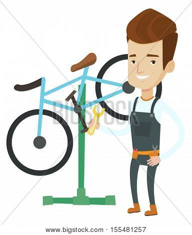 Caucasian man working in bike workshop. Technician fixing bike in repair shop. Bike mechanic repairing bike. Man installing spare part bike.Vector flat design illustration isolated on white background
