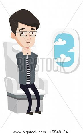 Man shocked by plane flight in a turbulent area. Airplane passenger frightened by flight. Afraid man sitting in airplane seat during flight.Vector flat design illustration isolated on white background