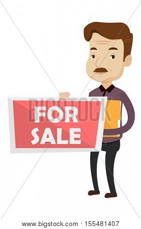 Real estate agent standing with documents near for sale real estate sign. Real estate agent selling house. Real estate agent offering house. Vector flat design illustration isolated on background.
