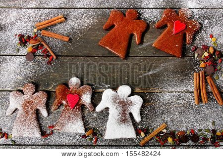 Christmas Gingerbread Angels With Spices And Candies