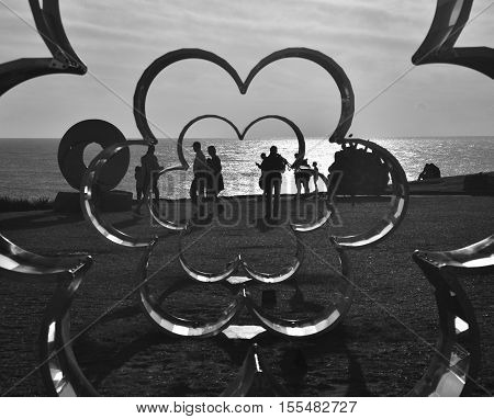 Sydney Australia - Nov 6 2016. Silvia Tuccimei: Flower Power. Sculpture by the Sea along the Bondi to Coogee coastal walk is the world's largest free to the public sculpture exhibitions.