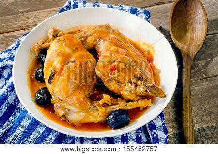 Stewed Rabbit Legs With Black Olives