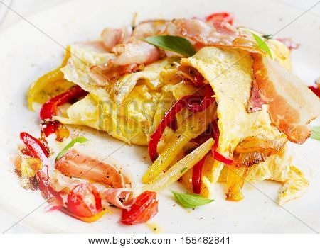 Omelet With Bacon And Vegetables For Healthy Breakfast .