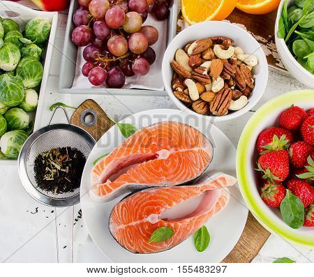 Foods Rich In Antioxidant. Healthy Eating Concept.